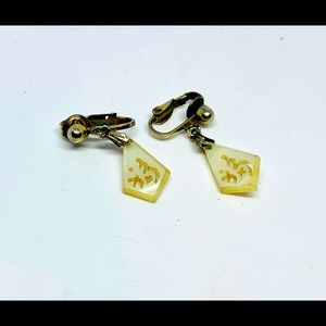 Jewelry - Mother of pearl carved clip earrings
